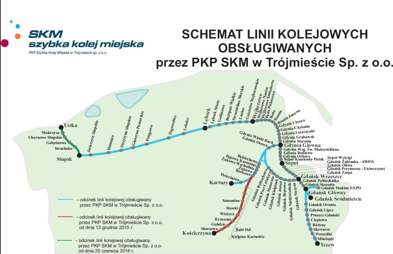 mapa przejazdów SKM Trójmiasto z ulgą 33%